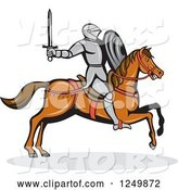 Vector of Horseback Armoured Knight Wielding a Sword by Patrimonio