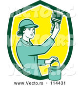 Vector of House Painter Girl Using a Brush in a Green White and Yellow Shield by Patrimonio