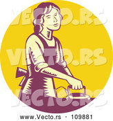 Vector of House Wife or Maid Ironing Laundry in a Yellow and Purple Circle by Patrimonio