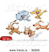Vector of Hungry Cartoon Dogs Running Towards Food Bowl by Holger Bogen