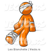 Vector of Injured Orange Guy Sitting in the Emergency Room After Being Bandaged up on the Head, Arm and Ankle Following an Accident by Leo Blanchette