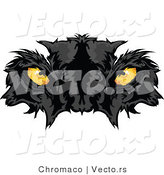 Vector of Intimidating Yellow Black Panther Eyes Staring by Chromaco