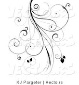 Vector of Intricate Black Curly Vines with Leaves - Design Element by KJ Pargeter