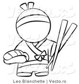 Vector of Japanese Chef with Chopsticks and Sushi - Coloring Page Outlined Art by Leo Blanchette