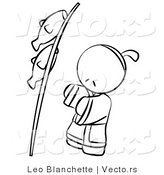 Vector of Japanese Person with Fish on a Pole - Coloring Page Outlined Art by Leo Blanchette