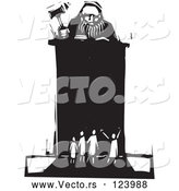 April 9th, 2018: Vector of Judge Holding a Gavel at a Podium in Front of Tiny People Black and White Woodcut by Xunantunich
