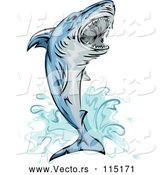 Vector of Jumping Attacking Shark Mascot by BNP Design Studio