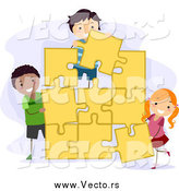 Vector of Kids Assembling a Large Jigsaw Puzzle by BNP Design Studio