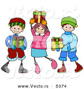 Vector of Kids Carrying Christmas Presents by BNP Design Studio