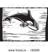 Vector of Killer Whale (Orcinus Orca) - Black Woodcut Lineart Theme by Xunantunich