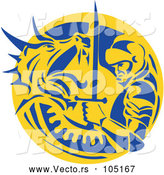 Vector of Knight or Saint George Fighting a Dragon in a Yellow and Blue Circle by Patrimonio