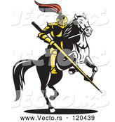 Vector of Knight with a Lance on a Jousting Horse 2 by Patrimonio