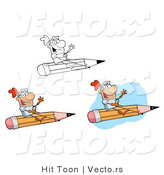 Vector of Knights Flying on Pencils - 3 Versions by Hit Toon