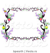 Vector of Lacy Black Floral Vines Border Frame by Bpearth
