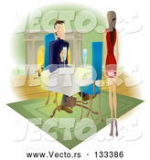 Vector of Lady Approaching a Guy with a Gift Behind Her Back by AtStockIllustration