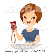 Vector of Lady Holding a Vip Event Pass by BNP Design Studio