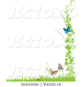 Vector of Ladybug with Butterflies and Vines with Grass - Background Border Design Element by Toonster