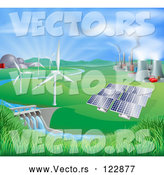 Vector of Landscape of Wind Turbine Nuclear Fossil Fuel Coal Solar Panels and Hydro Electric Power Generation Plants by AtStockIllustration