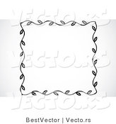 Vector of Leaf Border Frame - Black and White Web Design Element by BestVector