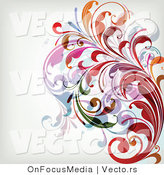 Vector of Leafy Floral Vines Background Border Design by OnFocusMedia