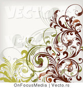 Vector of Leafy Floral Vines Background Design Version 10 by OnFocusMedia
