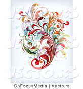 Vector of Leafy Floral Vines Background Design Version 15 by OnFocusMedia