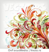 Vector of Leafy Floral Vines Background Design Version 18 by OnFocusMedia