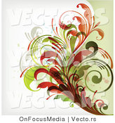 Vector of Leafy Floral Vines Background Design Version 19 by OnFocusMedia