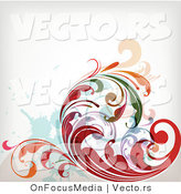 Vector of Leafy Floral Vines Background Design Version 32 by OnFocusMedia
