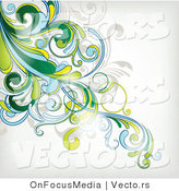 Vector of Leafy Green Floral Vines Corner Background by OnFocusMedia