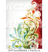Vector of Leafy Green Orange Red Floral Vines Background Design by OnFocusMedia