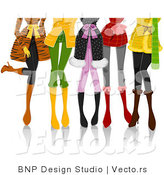 Vector of Legs of Fashionable Girls Wearing Winter Clothes by BNP Design Studio