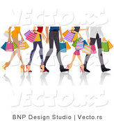 Vector of Legs of Shopping Guys and Girls by BNP Design Studio