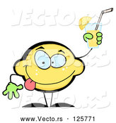 Vector of Lemon Character Holding up a Glass of Lemonade by Hit Toon