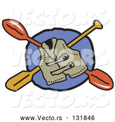 Vector of Life Jacket and Kayak Paddles by Andy Nortnik
