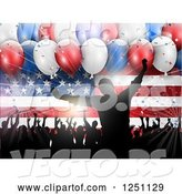 Vector of Light Burst, 3d Party Balloons and Silhouetted People Dancing over an American Flag by KJ Pargeter