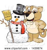 Vector of Lion Cub School Mascot Character with a Snowman by Toons4Biz