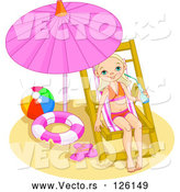 May 4th, 2018: Vector of Little Girl Drinking Water and Relaxing Under a Beach Umbrella by Pushkin