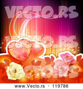 Vector of Love Hearts and Roses Background by Merlinul