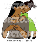 Vector of Loving Indian or Hispanic Daughter Hugging Her Mom from Behind by Pams Clipart
