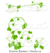 Vector of Lush Green Vines with Hearts - Background Border Design Elements by Elaineitalia
