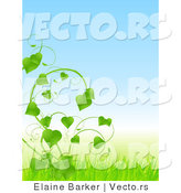 Vector of Lush Green Vines with Love Heart Shaped Leaves and Blue Sky with Grass by Elaineitalia