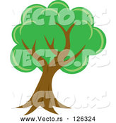 Vector of Lush Mature Tree with Green Foliage and a Curved Trunk by Rosie Piter