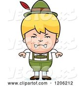 Vector of Mad Cartoon Blond Oktoberfest German Boy by Cory Thoman