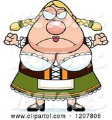 Vector of Mad Cartoon Chubby Oktoberfest German Lady by Cory Thoman