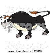 Vector of Mad Cartoon Salivating Black Bull by LaffToon