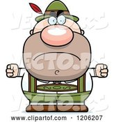Vector of Mad Cartoon Short Oktoberfest German Guy by Cory Thoman