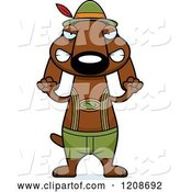Vector of Mad Cartoon Skinny German Oktoberfest Dachshund Dog Wearing Lederhosen by Cory Thoman