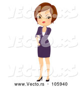 Vector of Mad Short Haired Brunette White Businesswoman Rolling up Her Sleeves by BNP Design Studio