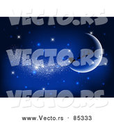 Vector of Magic Christmas Santa Claus Sleigh and Reindeer in a Night Sky with Moon by KJ Pargeter